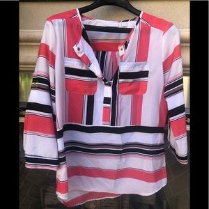 New York and Company-pink and White Blouse 👚